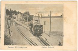 TRAM Ferrovia Trieste-opicina - Stazione Romagna - Rarissima Su Cartoncino Rigido - Trieste