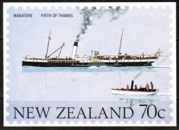 """NEW ZEALAND    70 Cents UNUSED POSTAL CARD """"Ship WAKATERE---Firth Of Thames"""" - New Zealand"""