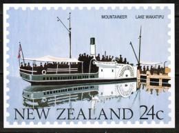 "NEW ZEALAND    24 Cents UNUSED POSTAL CARD ""Ship MOUNTAINEER---Lake Wakatipu"" - New Zealand"