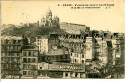 75018 PARIS - Panorama Vers Le Sacré-Cœur Et La Butte Montmartre - Publicités Dufayel, Médrano, Couté… - Arrondissement: 18