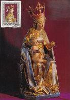 D14023 CARTE MAXIMUM CARD TRIPLE 1977 AUSTRIA - SCULPTURE MADONNA MARIASTEIN 1450 CP ORIGINAL - Scultura