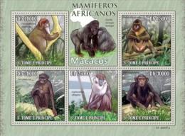 S. TOME & PRINCIPE 2010 MNH** - Monkeys - Mi 4459-4463, YT 3466-3470 - Gorilles