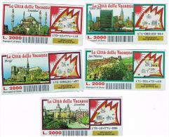 ITALIA - GRATTA E VINCI (LOTTERY) -  LE CITTA' DELLE VACANZE: LOT OF 5 DIFFERENT TICKETS  (SEE DESCRIPTION) - Billets De Loterie