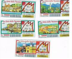 ITALIA - GRATTA E VINCI (LOTTERY) -  LE CITTA' DELLE VACANZE: LOT OF 5 DIFFERENT TICKETS  CODE 170 (SEE DESCRIPTION) - Biglietti Della Lotteria