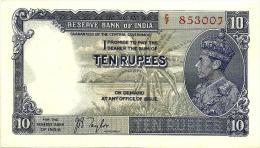 INDIA BRITISH 10 RUPEES GREEN KGVI HEAD FRONT EMBLEM BACK ND(1937) SIGN.TAYLOR P19a EF READ DESCRIPTION !!!!!! - India