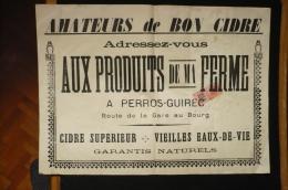 France Fiscal Affiche Publicité  Cidre Perros Guirec  Bretagne Vers 1910 Produits De La Ferme - Fiscaux