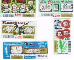 ITALIA - GRATTA E VINCI (LOTTERY) -   LOT OF 5 DIFFERENT TICKETS  OF EURO 2,00 (SEE DESCRIPTION) - Billetes De Lotería