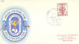 Australia Olympic Games 1956 Melbourne Official Souvenir Cover - Coat Of Arms Stamp - Medal Ceremony Handstamp - Sommer 1956: Melbourne
