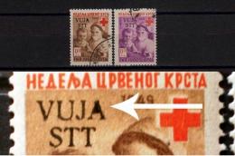YUGOSLAVIA USED SERIES RED CROSS OVERPRINT VUJA STT 1950 Military Administration Yugoslav Army Zone B Trieste - ERROR - Croce Rossa