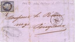 Lettre De Bordeaux 441 Pour Perigueux   14Af Bleu Laiteux 1855 - Storia Postale