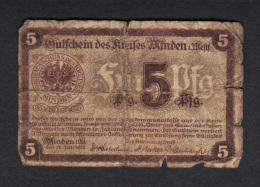 GERMANY STADT MINDEN, 5 PFENNIG 1917 .  (3B34) - [ 2] 1871-1918 : Impero Tedesco