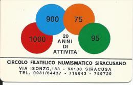 CAL373 - CALENDARIETTO 1995 - CIRCOLO FILATELICO NUMISMATICO SIRACUSANO - Calendari