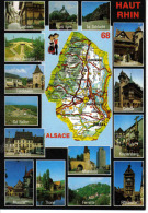 68 Le Haut Rhin N°8678 Carte D´Alsace Ferrette Eguisheim Ribeauvillé Altkirch Thann Munster - France