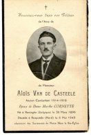 Aloïs Van De Casteele - Reminghe 1896 - Rexpoëde 1943 - Ancien Combattant 14 - 18 - Avvisi Di Necrologio