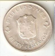 MONEDA DE PLATA DE FILIPINAS DE 50 CENTAVOS DEL AÑO 1947 (COIN) SILVER-ARGENT - Filipinas