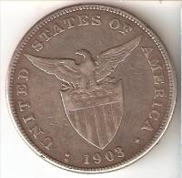 MONEDA DE PLATA DE ESTADOS UNIDOS EN FILIPINAS DE 1 PESO DEL AÑO 1903 (COIN) SILVER-ARGENT - Emissioni Pre-Federali