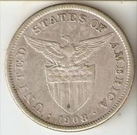 MONEDA DE PLATA DE ESTADOS UNIDOS EN FILIPINAS DE 1 PESO DEL AÑO 1908 (COIN) SILVER-ARGENT - Emissioni Pre-Federali