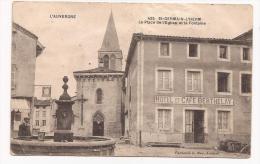 St-Germain-l'Herm - Place De L'Eglise Et La Fontaine - Cpa - Non Classés