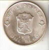 MONEDA DE PLATA DE FILIPINAS DE 1 PISO DEL AÑO 1947 (COIN) SILVER-ARGENT - Filipinas