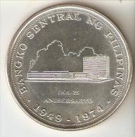 MONEDA DE PLATA DE FILIPINAS DE 25 PISO DEL AÑO 1974 DEL BANCO CENTRAL  (COIN) SILVER-ARGENT - Filipinas