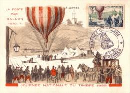 Carte  1er  Jour   JOURNEE  Du  TIMBRE    BESSEGES  (30)   1955 - Stamp's Day