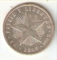 MONEDA DE PLATA DE CUBA DE 20 CENTAVOS DEL AÑO 1949  (COIN) SILVER-ARGENT - Cuba