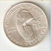 MONEDA DE PLATA DE CUBA DE 25 CENTAVOS DEL AÑO 1953  (COIN) SILVER-ARGENT - Cuba