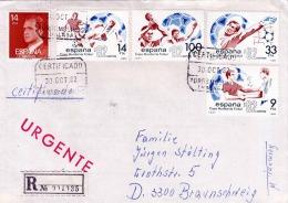1982 SPANIEN, 5 Fach Frankierung Auf R-Brief, Certificado, Mehrere Stempel, 6 Eckstempel Malaga - Spanien