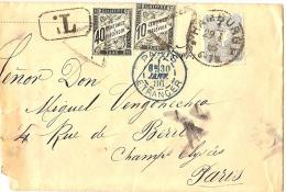 LBL20/2- DUVAL 40c+10c SUR LETTRE TAXEE EN PROVENANCE D'HAMBURG JANVIER 1886 - Taxes