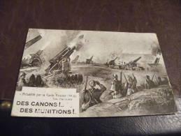 II.CPA.militaria.L'actualité Par La Carte Postale.DES CANONS!DES MUNITIONS!.rare Beau Plan Animé.écrite 1916 - Guerre 1914-18