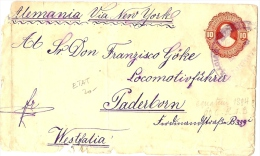 LBL20/2- ECUADOR EP ENVELOPPE A DESTINATION DE PADERBORN MARS 1895 THEME TRAINS - Equateur