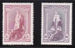 Australia 1937 Coronation Robes 5s & 10s MH  (Both Thick)  SG 176,177 - 1937-52 George VI