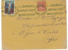 Marque Postale De Lourdes 1930 Sur Lettre Avec Timbre Et Vignette Por St Jean Le Contal Gers - Frankreich