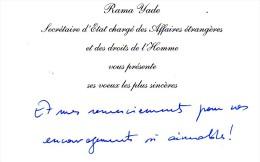 Les Voeux Autographes (2009) De Rama Yade, Secrétaire D'État Chargé Des Affaires étrangères Et Des Droits De L'Homme - Autographes