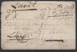 Guerre De 1870, Lettre En Franchise Pour Un Tirailleur Girondin Avec Réexpédition De Fev 1871 - Postmark Collection (Covers)