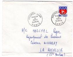 TIMBRE - FRANCE - BLASON DE PARIS - ENVELOPPE 1er JOUR 16 JANV 1965 - ADRESSE INSCRITE - BON ETAT - Francia