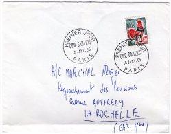 TIMBRE - FRANCE - COQ GAULOIS - ENVELOPPE 1er JOUR 15 JANV. 1965 - ADRESSE INSCRITE - BON ETAT - Francia