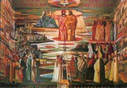 Nazareth - Santino Cartolina MOSAICO CENTRALE NELLA CHIESA DELL'ANNUNCIAZIONE - PERFETTO F72 - Religione & Esoterismo