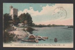 DF / 30 GARD / VILLENEUVE LES AVIGNON / LES BORDS DU RHÔNE ET TOUR PHILIPPE LE BEL / CIRCULÉE EN 1923 - Villeneuve-lès-Avignon