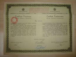 Certificat  Fractionnaire Ropyaume De Roumanie 50 Francs 1934 - Banque & Assurance