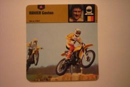 Sports Moto - Carte Fiche Moto-pilote Moto-rahier Gaston-né En 1947  (description Au Dos De La Carte - Cartoline