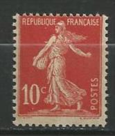 "Yt 134 "" Semeuse Camée Avec Sol Type I Papier Jaunâtre  "" 1906 Neuf** - 1906-38 Semeuse Camée"