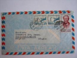 Chili Chile 1963 Lettre Aereo Santiago To Val-Saint-Lambert Belgium Yv PA 204 Avions 206 Gabriela Mistral - Chili