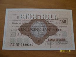 MINIASSEGNI  BANCO DI SICILIA  FDS CATANIA  150 LIRE - [10] Assegni E Miniassegni