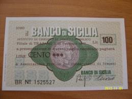 MINIASSEGNI  BANCO DI SICILIA  FDS TRAPANI 100  LIRE - [10] Assegni E Miniassegni