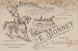 GRENOBLE BISCUITERIE DES ALPES E.MONNET Effet De Commerce BELLE ILLUSTRATION 1912 - Chocolat