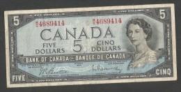 [NC] Banque Du CANADA / Bank Of CANADA - 5 DOLLARS (OTTAWA 1954) - Canada