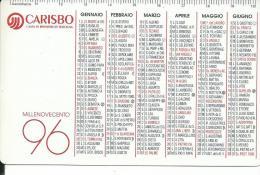CAL393 - CALENDARIETTO 1996 - CARISBO - CASSA DI RISPARMIO DI BOLOGNA - Calendari