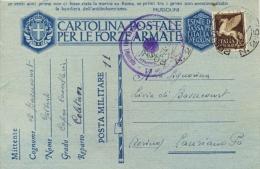 Regno D´Italia 24/3/1943 Cartolina Postale Franchigia + 50 Cent. Posta Aerea Da Posta Militare 215 (Intendenza Tunisia) - WW2