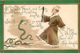 ST. PATRICK´S DAY - ARTIST SIGNED, H.B. GRIGGS - MONK WITH HALO, CHARMS SNAKES - EMBOSSED V/F VINTAGE ORIGINAL POSTCARD - Saint-Patrick's Day